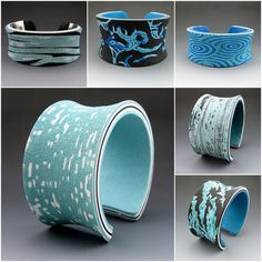 fimo, blue cuff, inspir, polym clay, cuffs, polymer clay, cuff bracelets, jewelri, bakers
