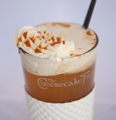 Hot caramel apple cider....  A blog that will give you the recipe and directions to prepare almost all of the menu items that Cheesecake Factory offers (apps, salads, entrees, cheesecakes, etc.....)