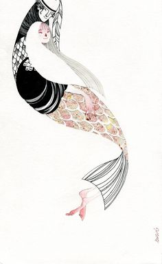 suwideviantartcom, ryba, paint, mermaid, illustr