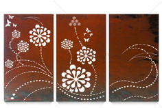 Outdoor Wall Decor - Triptych Flower Wave from Earth Homewares