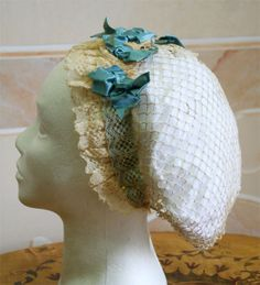 """Comment from Kay Gnagey:  When I did my big """"accessories on CdVs"""" counting project, I found that about 2/3 of all women depicted in indoor dress wore SOMETHING on their head - often all one can see it a bit of ribbon or such.  This net, if worn, would give a similar frontal look.  So I would not restrict it to the well-to-do class leisure wear -- there are many chores/work women do that is not dirty or requires rough clothing and this would fit the """"SOMETHING on the head"""" category very well. ..."""