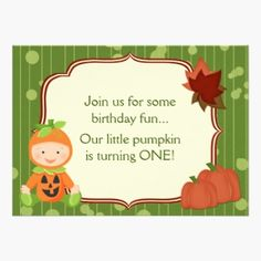 Baby in Pumpkin Costume 1st Birthday Invitation. Cute Personalized Baby in Pumpkin Halloween Costume with Pumpkins and Leaves First Birthday Party Invitation. It's a perfect Autumn Invite for both boys and girls.