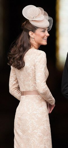 Kate Middleton in Alexander McQueen dress and Jane Taylor hat.