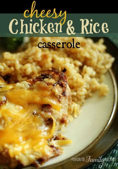 This Cheesy Chicken and Rice Casserole is a favorite Sunday dinner at our house. It's quick and easy to throw together and tastes delicious! #cheesychicken #chickencasserole