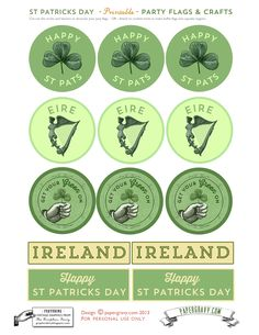 Vintage Printables St. Patrick's Day - Free Flags, Buntings, Stickers! 3 Matching sets, great for parties! vintag printabl, flag, diy crafts, graphics fairy, fairi llc, buntings, sticker, graphic fairi, st patricks day
