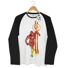Camiseta Manga Longa Raglan Masculina The Flash Running #flash #theflash #dccomics #comics #lojadccomics