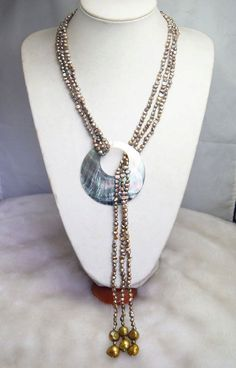 Pearl Necklace,Beaded Jewelry -30 Inch 3 Strands Pearl Necklace With Freshwater Pearl