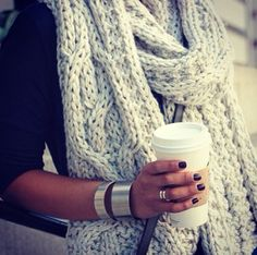 Love this wrap scarf. Cozy.