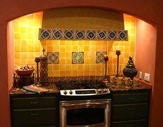 talavera tile backsplash and granite countertop