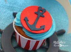 Cupcakes at a Nautical Mickey Mouse Party #nautical #mickeymouse