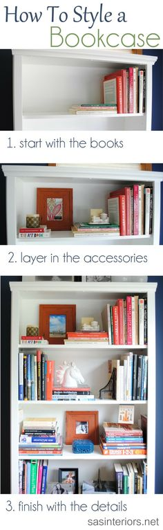 A breakdown on how-to style a bookcase. Inspiration tips and ideas on how and where to begin accessorizing a bookcase or shelf in your home.