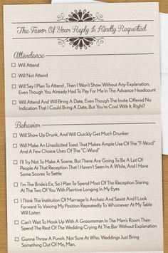 Hilarious wedding RSVP • You know you'd kinda wanna use it.
