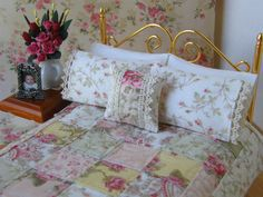 Dollhouse Miniature Quilt  with 2 Matching Bed Pillows & Decorator Pillow, Sweet Sarah - 1:12 Scale via Etsy