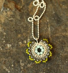 Bloom Necklace - Lucky - Jewelry, Silver, Necklace, Pendant, Beadwork.