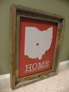 Columbus Ohio Home Is Where The Heart Is Print by fortheloveofmaps, $22.00
