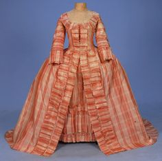Plaid silk sacque gown, c 1780s, Whitaker Auction House.