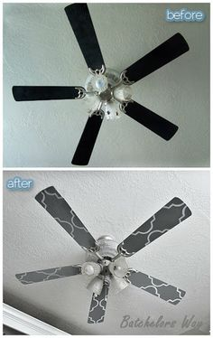 Take down the fan blades and paint/stencil them.