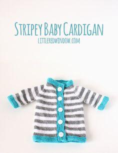 Stripey Baby Bunting Cardigan - Little Red Window