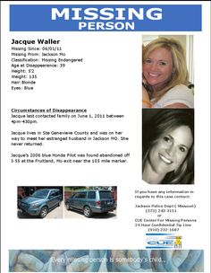 Jacque S. Waller's Poster from National Missing Person's Group