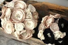 "Champagne and black bridal bouquet, 8""  Custom fabric flower bridal bouquet, alternative fabric flower bouquet"