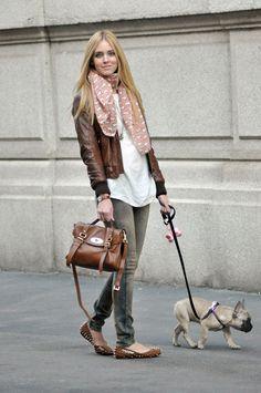 gray jeans, fun scarf, classic bag