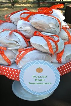 Pulled Pork Sandwiches - Buy the BBQ and wrap the sandwiches and tie with ribbon