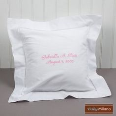 Embroidered Baby Pillow: great gift idea