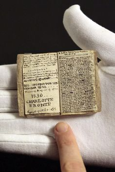 A manuscript by British author Charlotte Brontë that fits comfortably into the palm of a hand