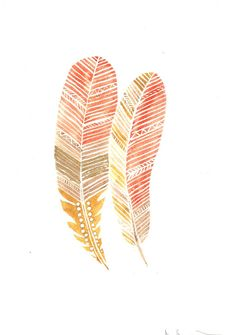 pretty watercolor feathers
