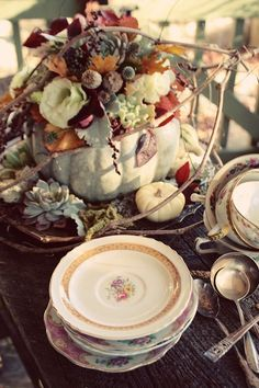 Autumn vintage table setting, china & silverware.   #chic #elegant #rustic #country #shabby #fall #autumn #thanksgiving #decor #pumpkin #centerpiece