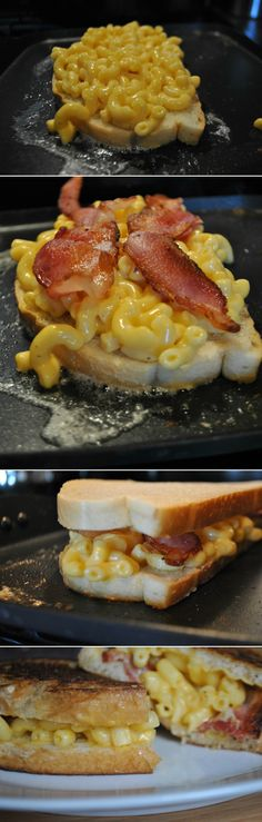 Grilled Mac and Cheese Sandwich! Love Mac and Cheese, love grilled cheese and just about anything is better with bacon so what's not to love? Mm CARBS!