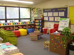 Classroom Reading Area- this classroom must be HUGE to have such an awesome Reading area!!