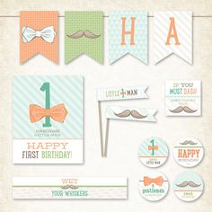 Little Man Mustache First Birthday Party Printables by HWTM, $22.00 ...love the vintage style + fresh colors. babi king, mustach birthday, birthday parties, mustache birthday, man parti, man mustach, first birthdays, bow, mustach parti