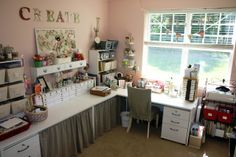 craft space, room crafts, crafting room, craftroom, desk, sewing rooms, table skirts, curtain, craft rooms
