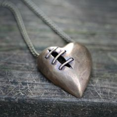 Bronze Sutured Heart necklace by idle hands designs
