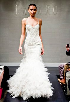 Love this gown! Who knew feathers could (almost) have a subtle look to them? Lazaro Fall 2014 | The Knot Blog