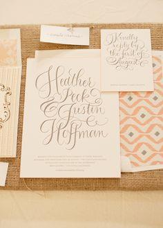 Southern wedding - calligraphy invitation