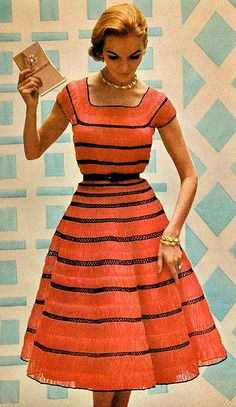 Beautiful red dress with black horizontal lines. Very eye-catching! #reddress #50sfashion #1950s