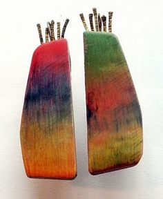 Leaves of Grass earrings: colored pencil on polymer clay.