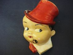 Antique Figural String Holder- Cute - Chalkware - Hand Painted - Heavy - Decorative. 299.00, via Etsy.