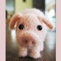 Needle felted piglet