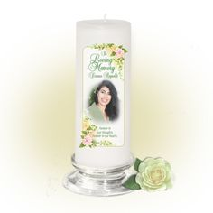 3x9 Pillar Candles : Somerset Custom Memorial Pillar Photo Candle White, Unscented. Stand, optional