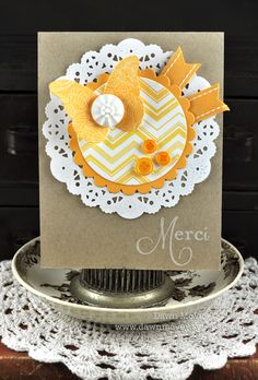 thank you cards with chevron background stamps.  by dawn mcvey.