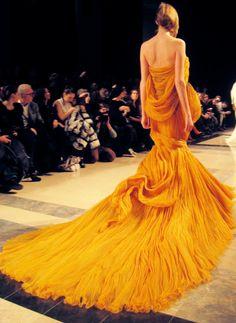 yellow fashion, wedding dressses, orang, color, runway
