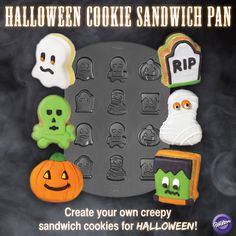 Create your own creepy sandwich cookies for Halloween with Wilton's Halloween Cookie Sandwich Pan!  Includes 6 designs: tombstone, monster, ghost, mummy, pumpkin and skull. sandwich cookies