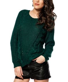 Loving this Dark Green Cable-Knit Boatneck Sweater on #zulily! #zulilyfinds  Mine now!