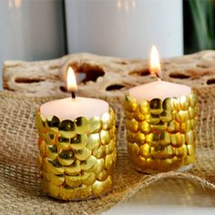 Give those candles some life with thumbtacks!  This is an easy, decorative look for fall!