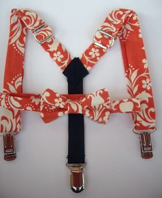 bow tie and suspenders for toddler boy - orange and cream damask. $35.00, via Etsy.
