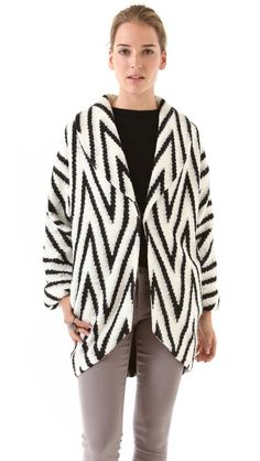 alice + olivia Lidell Wrap Jacket..black and white chevron sweater jacket...love!