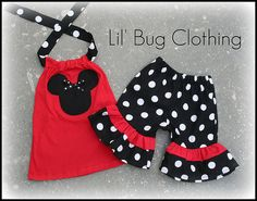 Custom Boutique Clothing Black White Dot Minnie by LilBugsClothing, $37.50